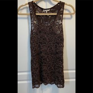 BKE Buckle Lace Tank Sz S Brown Glitter Stretchy